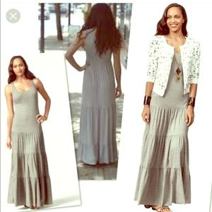 Cabi Resort Tired Maxi Grey Flowing Dress Small
